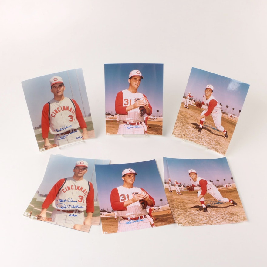Jim O'Toole Signed Cincinnati Reds Photo Prints, Some with Inscriptions