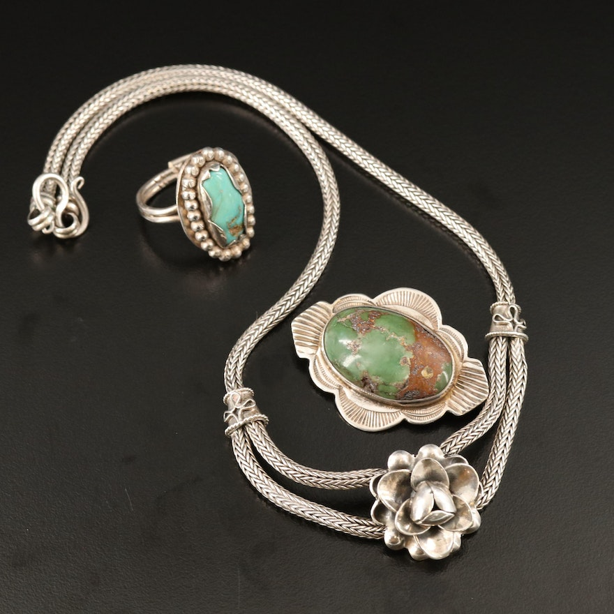Sterling Silver Turquoise Jewelry Including Green Turquoise