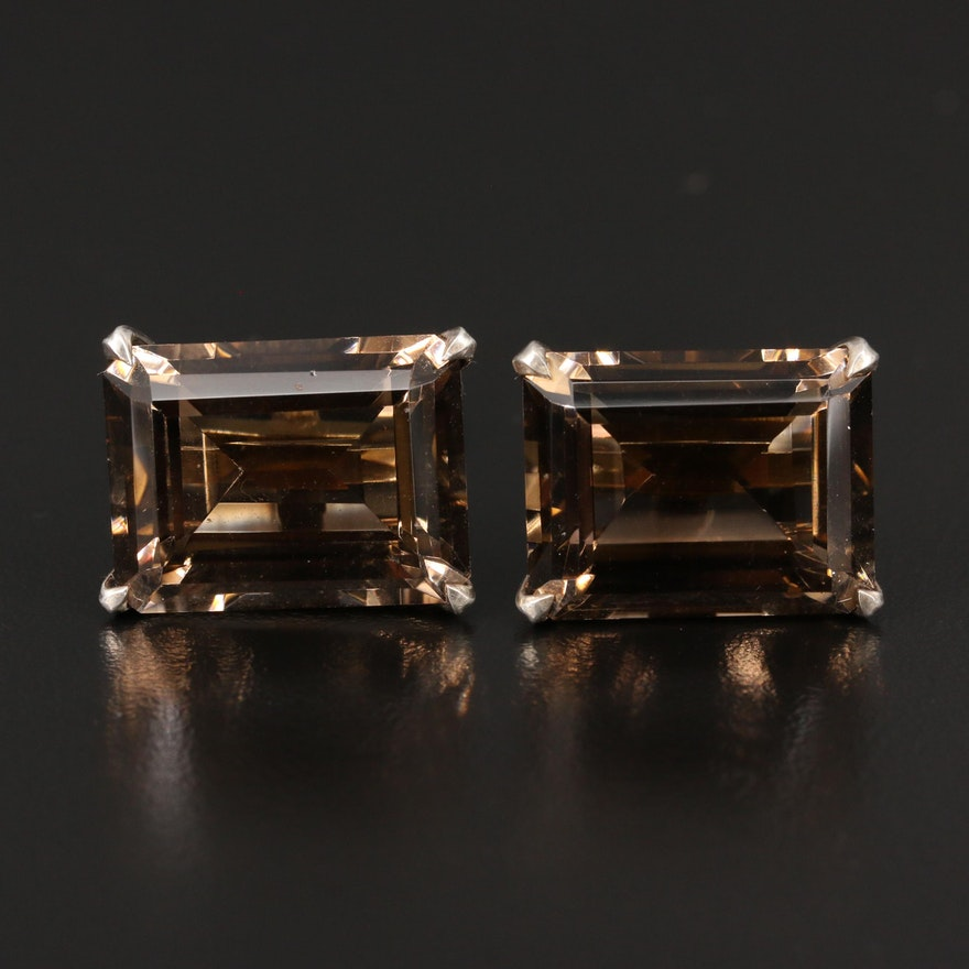 Vintage Destino Smoky Quartz Cufflinks in Sterling
