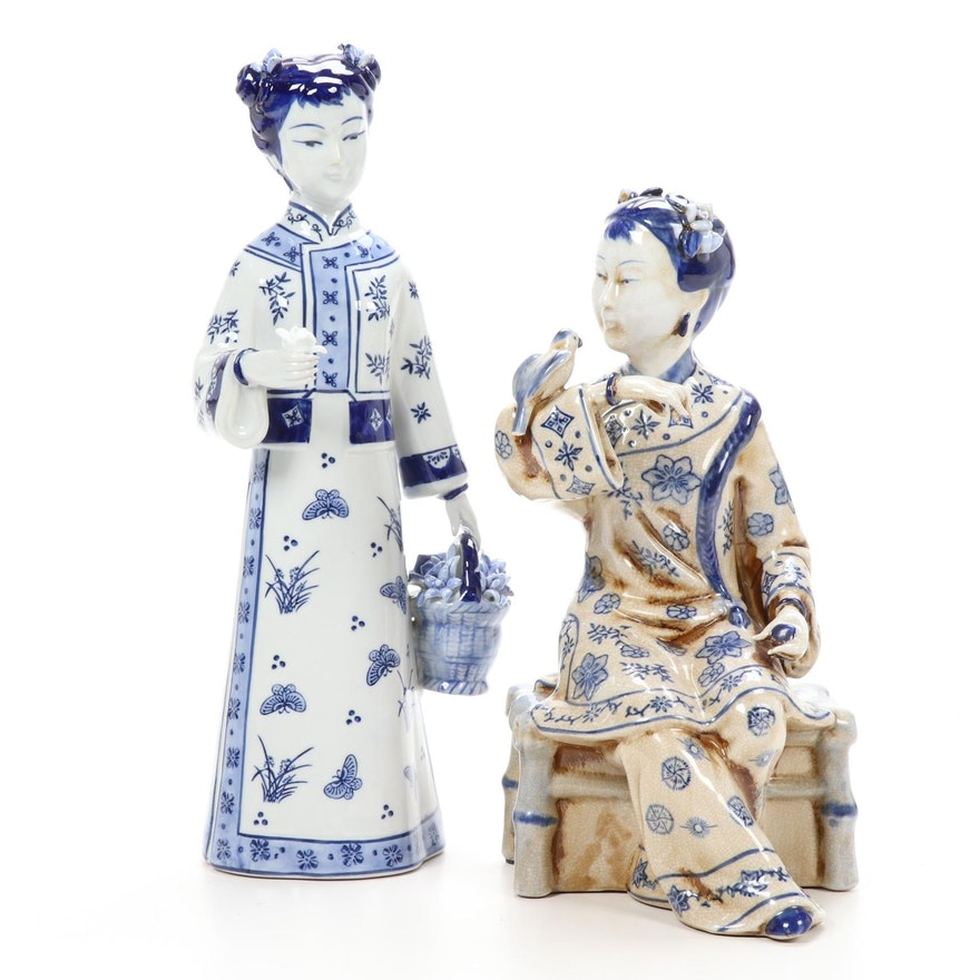 Pair of Chinese Porcelain Blue and White Figurines, Late 20th Century