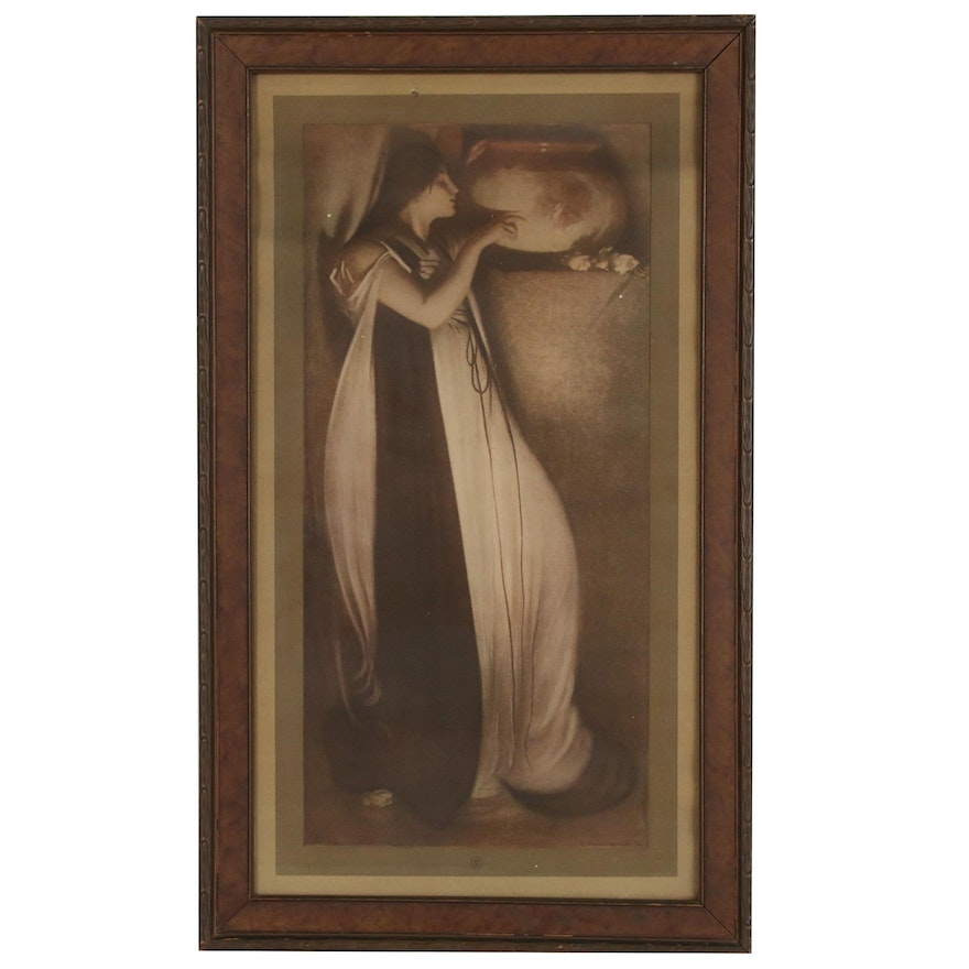"Lithograph Print After John White Alexander ""Isabella and the Pot of Basil"""