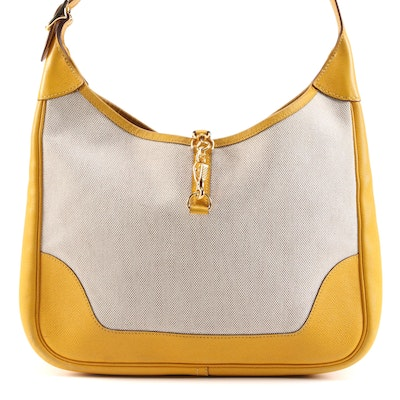 Hermès Trim 31 Bag in Natural Toile with Yellow Veau Grain Lisse Leather Trim