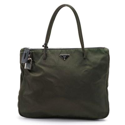 Prada Dark Green Tessuto Nylon Tote Bag