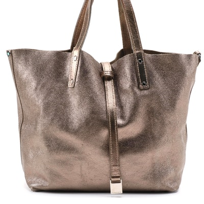 Tiffany & Co. Metallic Leather and Taupe Suede Reversible Tote Bag