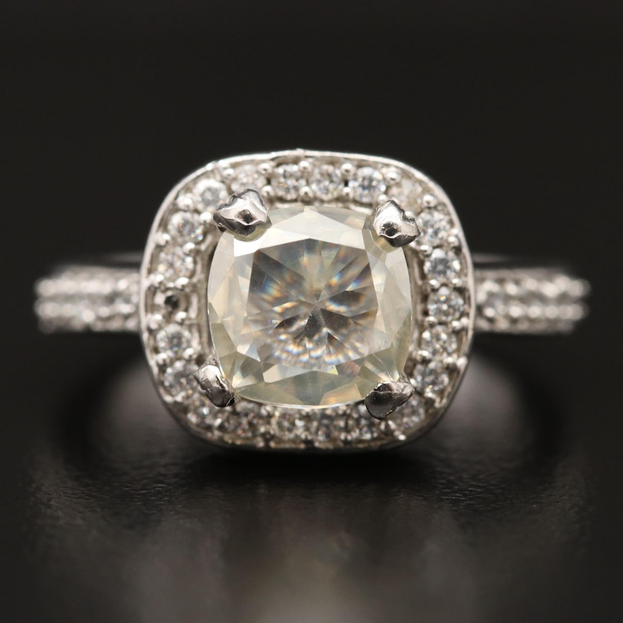 Sterling Silver Moissanite and Cubic Zirconia Halo Ring