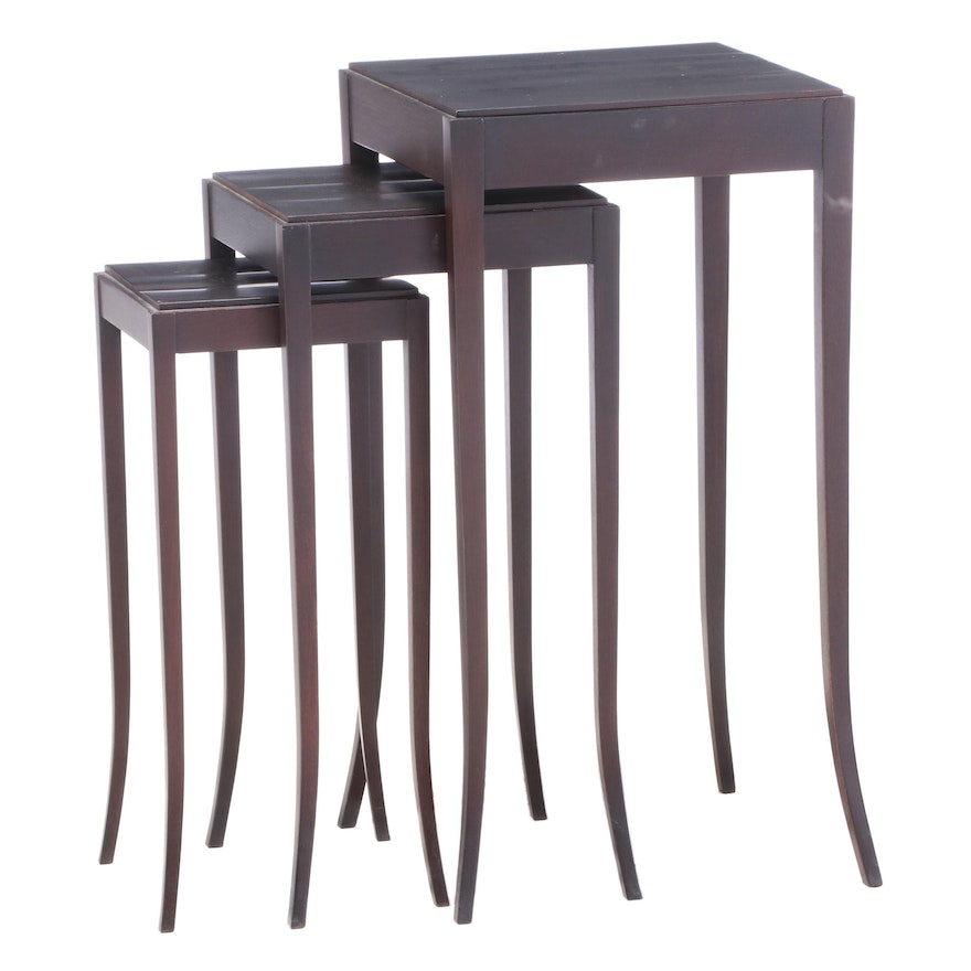 "Three Baker Furniture ""Barbara Barry Collection"" Mahogany Graduated Side Tables"