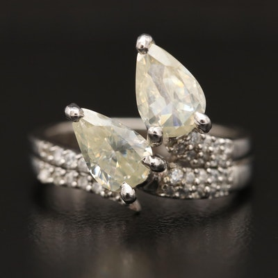 Sterling Silver Moissanite Ring with Cubic Zirconia Accents