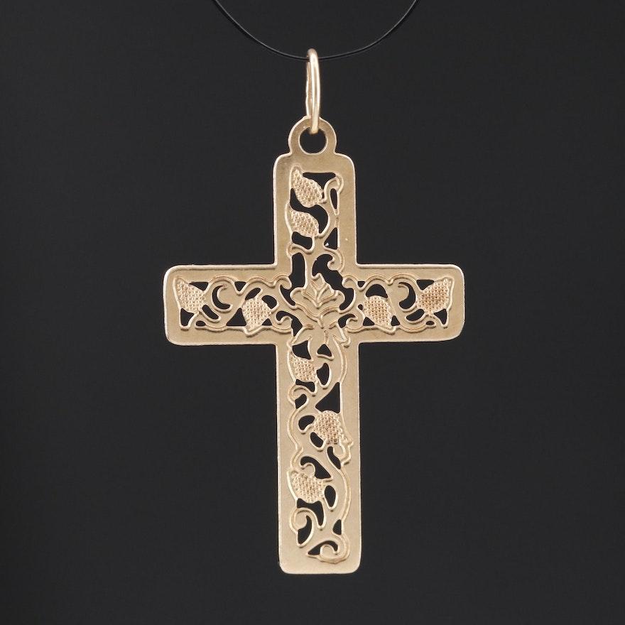 14K Foliate Cross Pendant