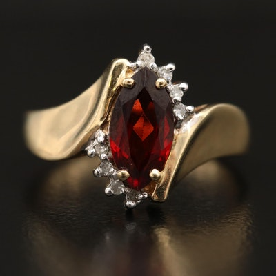 10K Marquise Garnet and Diamond Ring