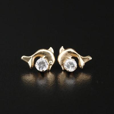 14K Cubic Zirconia Dolphin Stud Earrings
