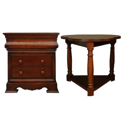 Two Mahogany-Stained Wooden Side Tables