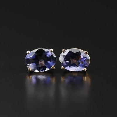 Iolite Oval Stud Earrings