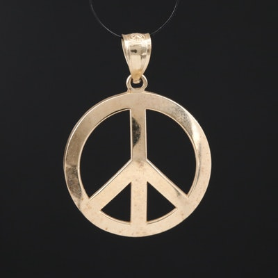 10K Peace Symbol Pendant