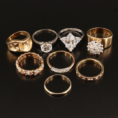 Assortment of Rings Including Cubic Zirconia and Rhinestones