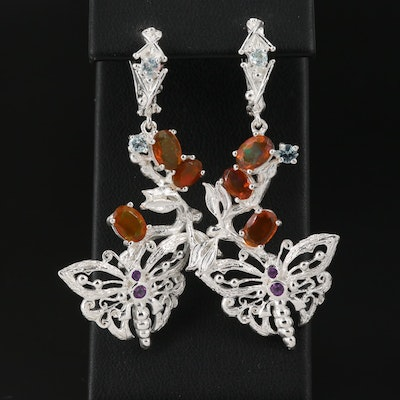 Sterling Silver Opal, Amethyst and Topaz Butterfly Dangle Earrings