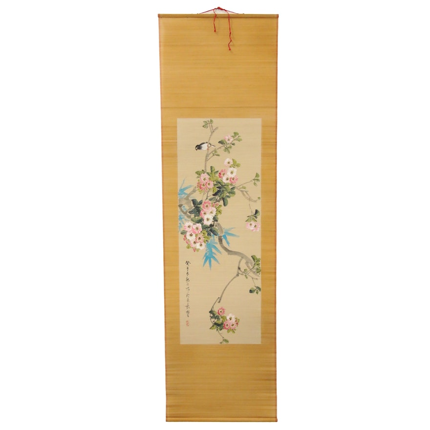 Chinese Hand-Painted Gouache on Bamboo Scroll