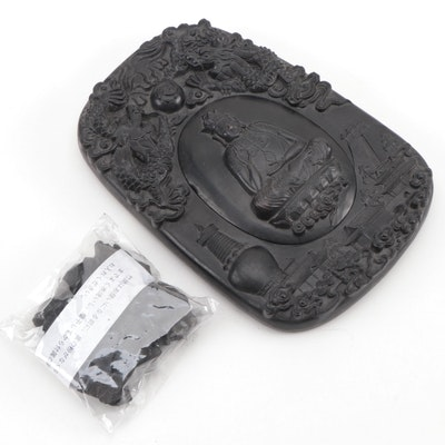 Chinese Stone Ink Pot with Image of Buddha and Dragons
