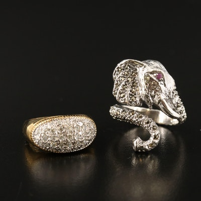 Sterling Silver Elephant Bypass Ring and Cluster Dome Ring
