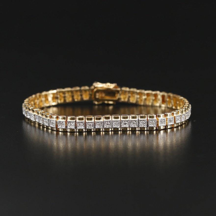 Sterling Silver Diamond Bracelet