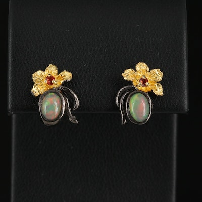 Sterling Silver Opal and Garnet Flower Stud Earrings