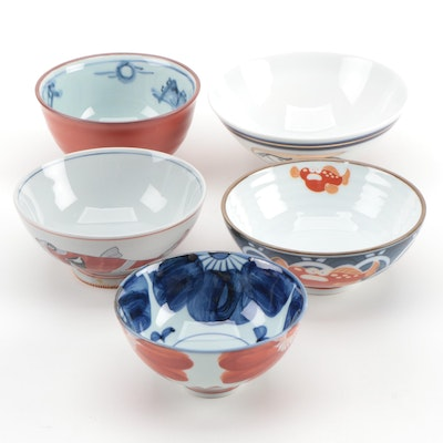 Japanese Porcelain Bowls, Transfer and Hand Decorated