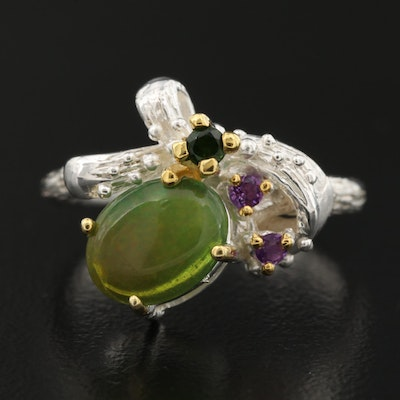 Sterling Opal, Amethyst and Diopside Textured Ring