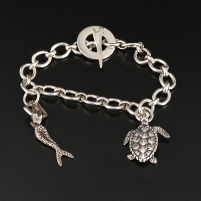 Sterling Silver Charm Bracelet Featuring Turtle, Mermaid and Rocket Charms