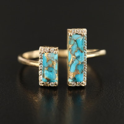 Sterling Silver Faux Turquoise and Topaz Open Ring