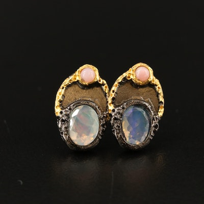 Sterling Silver Opal Earrings with Organic Detailing