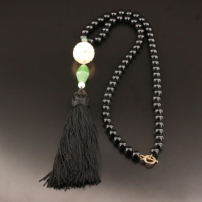 Black Onyx Beaded Necklace with Carved Bone, Lucite and Tassel Drop