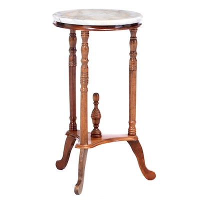 Victorian Style Marble Top Plant Stand