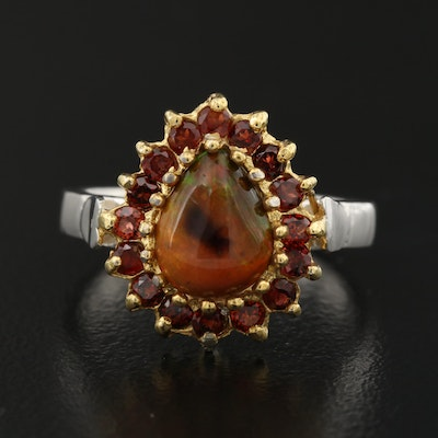 Sterling Silver Opal and Garnet Teardrop Ring