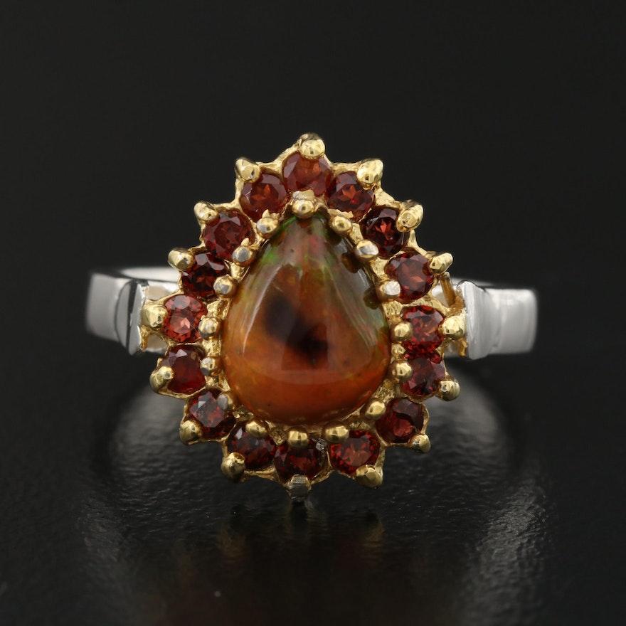 Sterling Silver Opal and Garnet Teardrop Ring