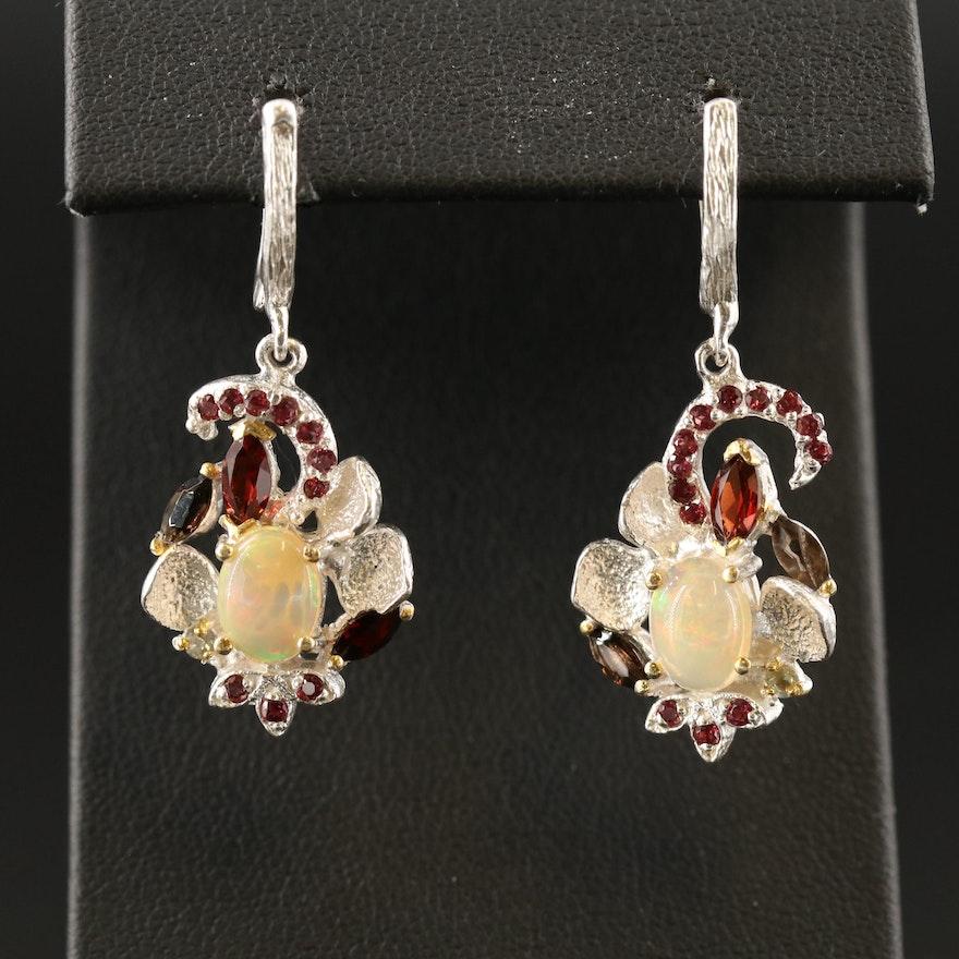 Sterling Silver, Garnet, Opal and Smoky Quartz Drop Earrings