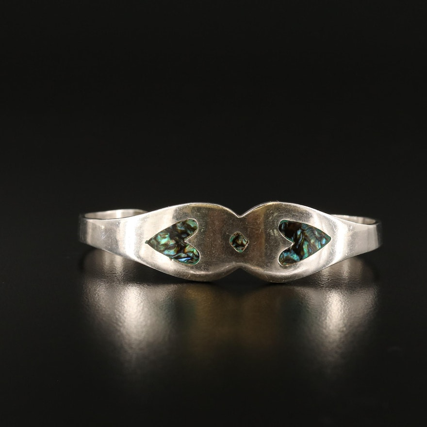 Mexican Sterling Silver Cuff with Abalone Inlay