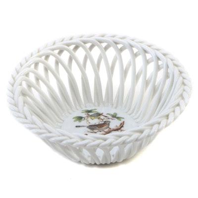 "Herend Hand-Painted ""Rothschild Bird"" Open Weave Porcelain Basket"