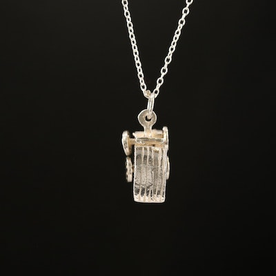 Sterling Silver Articulated Carriage Charm Necklace