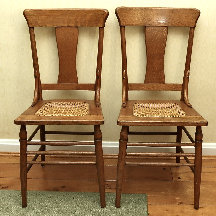 Pair of Colonial Revival Oak Caned Side Chairs