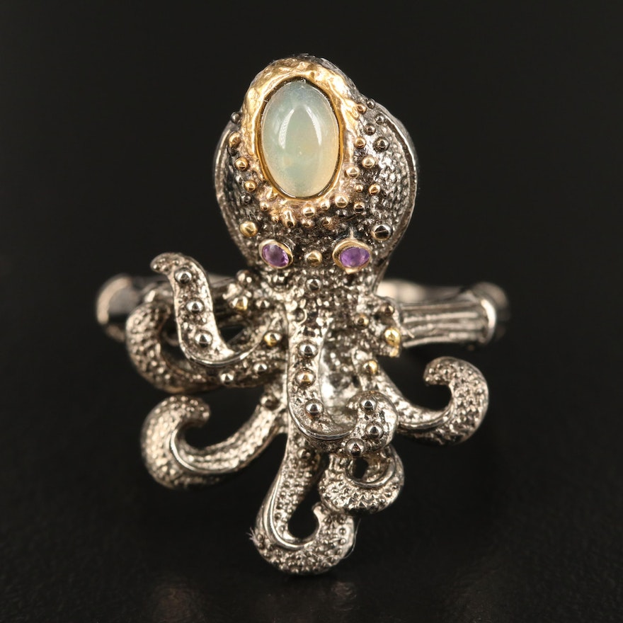 Sterling Silver Opal and Amethyst Octopus Ring