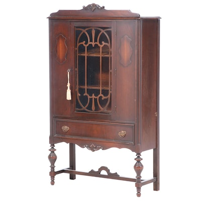 Jacobean Revival Walnut China Cabinet, 1920s
