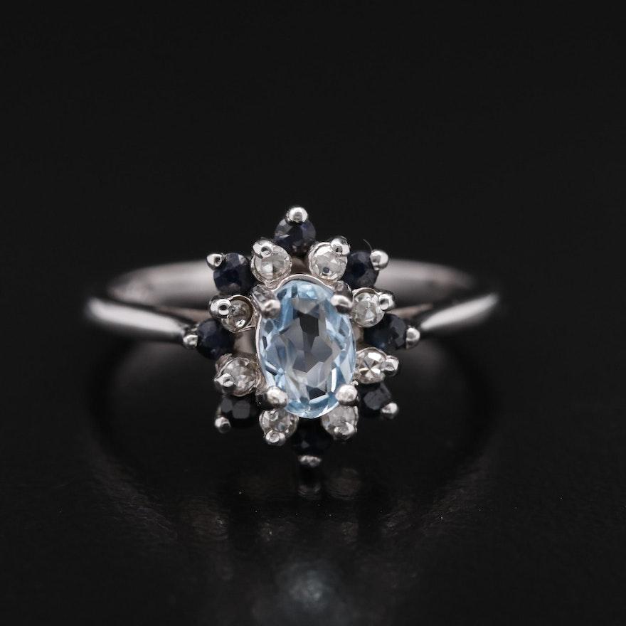 10K Aquamarine, Diamond, and Sapphire Ring