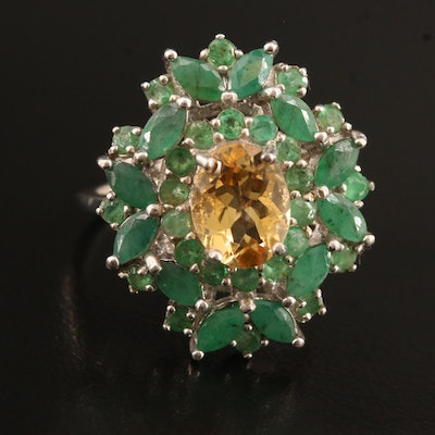 Sterling Silver Citrine and Emerald Ring Featuring Wreath Design