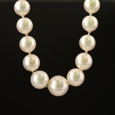 Vintage Single Strand Graduated Pearl Necklace with 14K Clasp