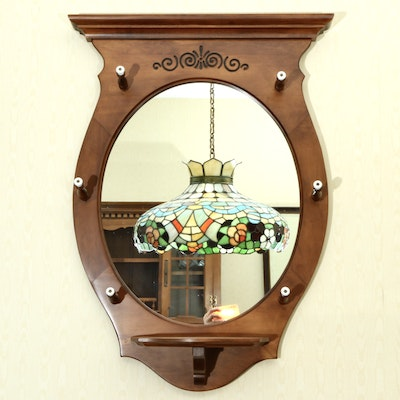 American Colonial Maple Wall Mirror With Coat Hooks