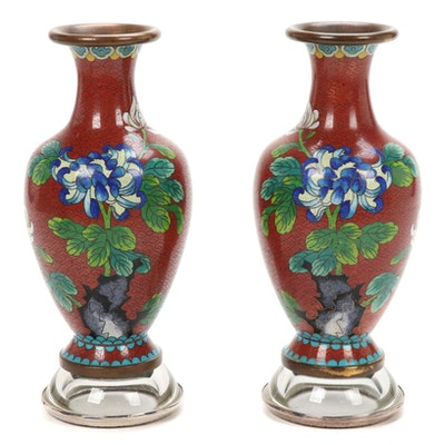 Pair of Chinese Cloisonné Vases on Silver Rimmed Bowls, Mid to Late 20th Century