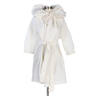 Stella McCartney Belted Drawstring Collar Coat in White Bamboo