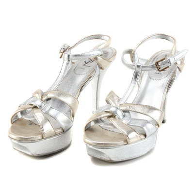 Yves Saint Laurent Tribute 75 Sandal in Argento and Sahara Leather