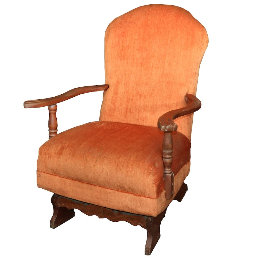 Orange Velour Upholstered Maple Rocking Chair, Mid 20th Century