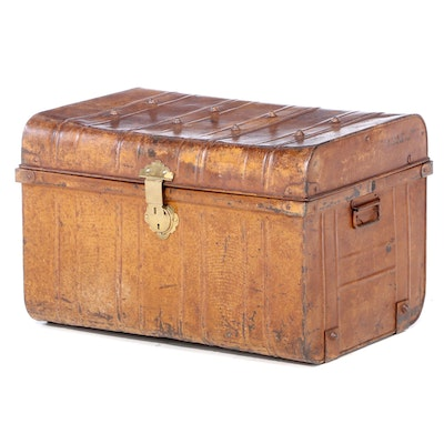 Industrial Patinated Metal Lift-Lid Trunk