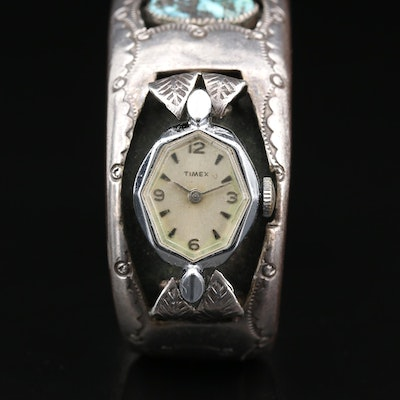 Vintage Timex with D.A. Jim Navajo Diné Sterling Turquoise Cuff Bracelet